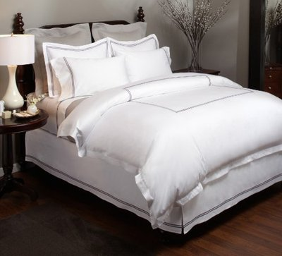 High end vs bargain hotel style bedding for Hotel style comforter